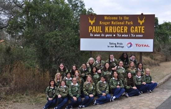 Student tour group at Kruger Park entrance gate