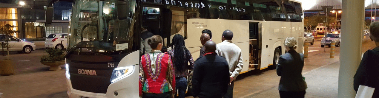 Passengers Boarding a Luxury Coach Charter Johannesburg